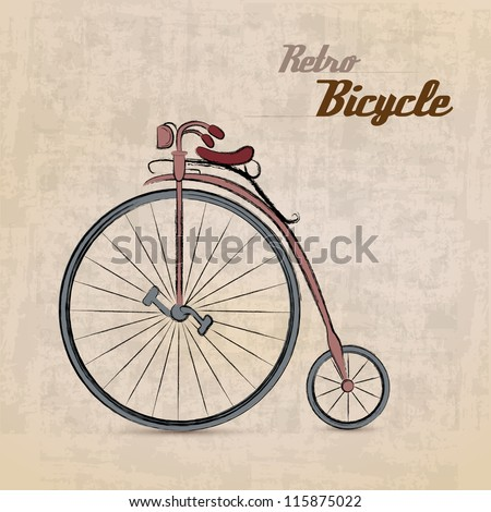 Vintage Retro Bicycle/with hand drawn design | EPS10 Compatibility Required - stock vector