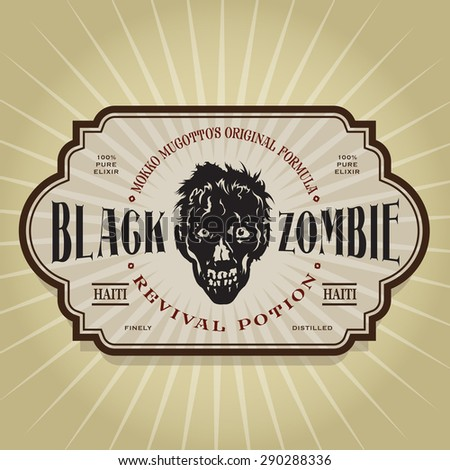 Vintage Retro Black Zombie Revival Potion Label