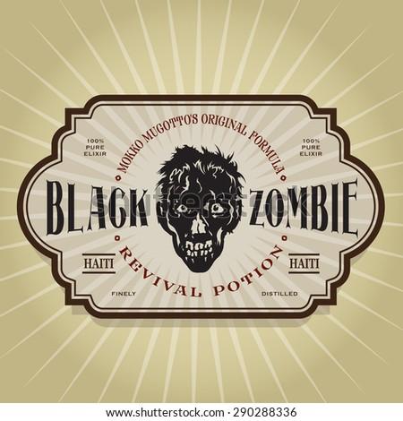 Vintage Retro Black Zombie Revival Potion Label - stock vector