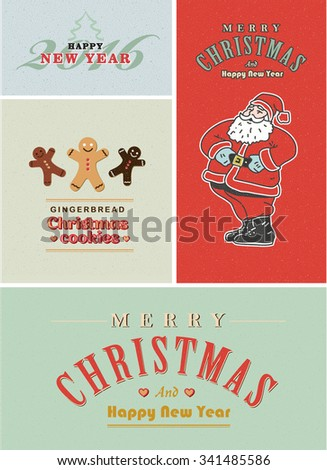 Vintage retro Christmas card set. Old-fashioned Santa Claus, gingerbread and old style lettering - stock vector