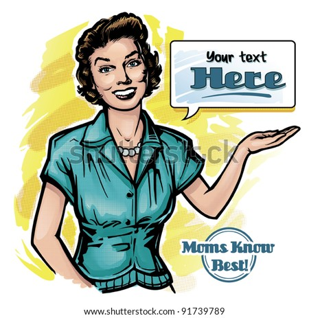 Vintage Retro Clip Art Woman Advertisement 1 - stock vector