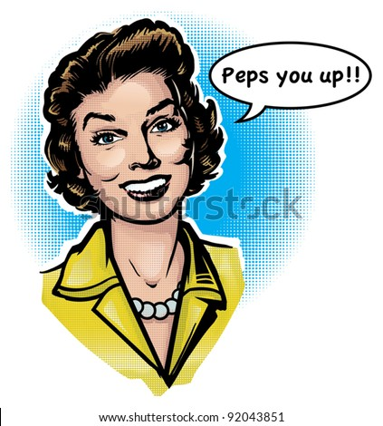 Vintage Retro clip Art Woman Advertisement 2 - stock vector