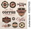vintage retro coffee badges and labels - stock vector