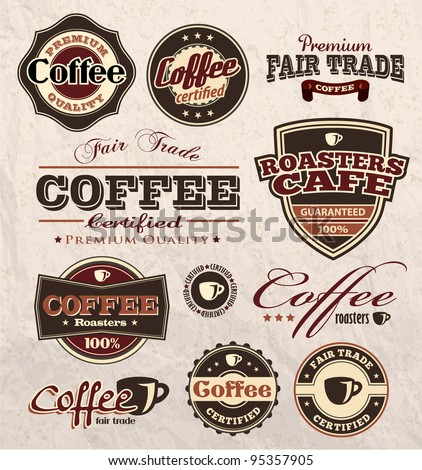 vintage retro coffee badges and labels