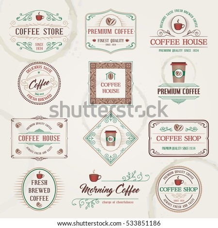 Vintage Retro Coffee Labels and Badges set. Vector Illustration