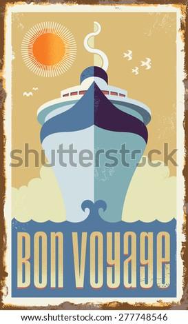 Vintage retro cruise ship - vector design - Holiday travel poster illustration - stock vector