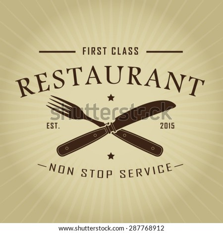 Vintage Retro First Class Restaurant Seal - stock vector