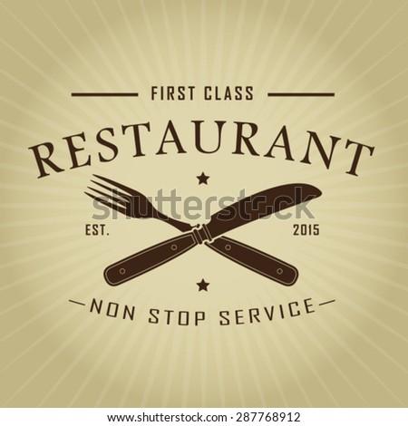 Vintage Retro First Class Restaurant Seal - stock vector