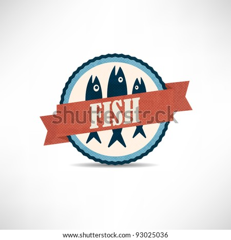 vintage retro fish  labels - stock vector