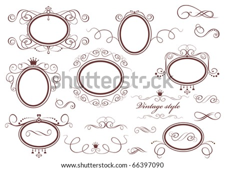Vintage retro frames - stock vector