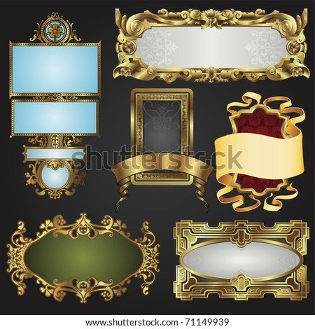 Vintage retro glossy gold frames and labels in a variety of retro antique styles. - stock vector