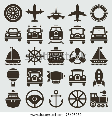 Vintage retro icons transport set. Vector design elements. - stock vector