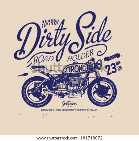 Vintage retro illustration typography t-shirt printing motor wing with wording for apparel 6 - stock vector