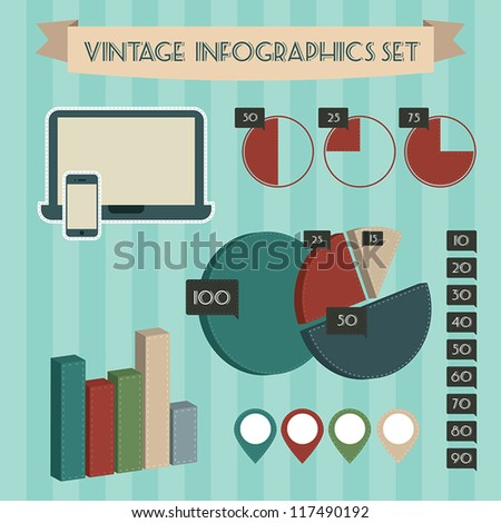 Vintage retro infographics elements set