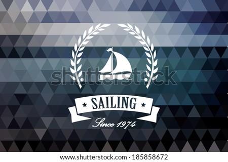 Vintage retro insignia, stamp, label, badge, sailing, vector illustration - stock vector