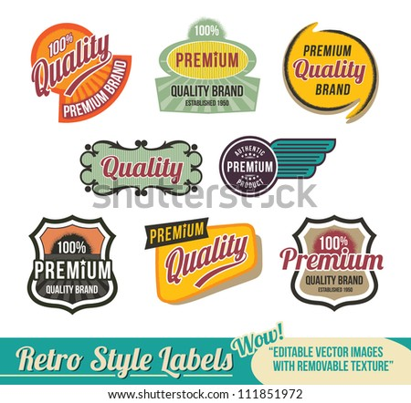 Vintage Retro Labels - editable vector images - stock vector