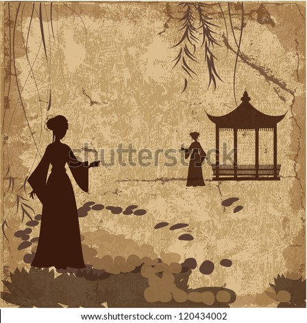 Vintage retro landscape wallpaper with girls - stock vector