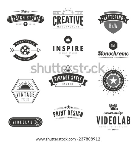 Vintage Retro Logos Labels vector template. Creative Typography Lettering Logo Design. - stock vector