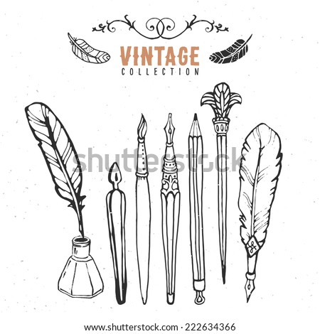 Vintage retro old nib pen brush ink collection. Hand drawn vector illustrations. Vol.2 - stock vector