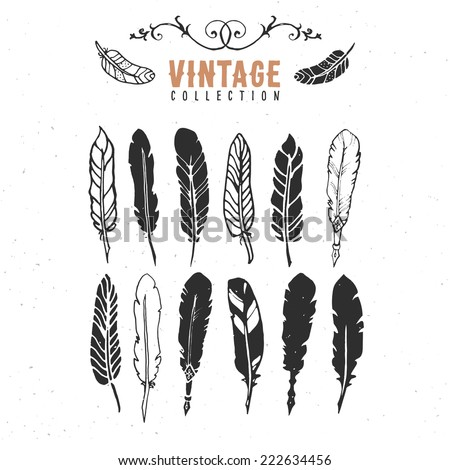 Vintage retro old nib pen feather ink collection. Hand drawn vector illustrations. Vol.11 - stock vector