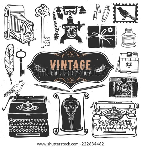 Vintage retro old things collection. Hand drawn vector illustrations. Vol.3 - stock vector