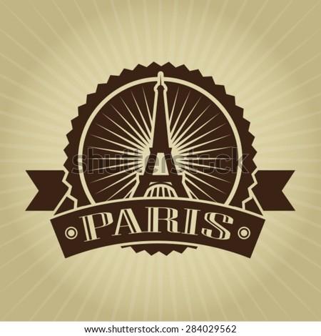 Vintage Retro Paris Seal - stock vector