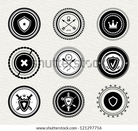 Vintage retro protect badges and labels - stock vector
