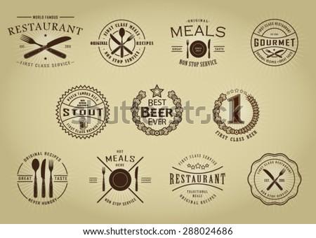 Vintage Retro Restaurant Beer Seals - stock vector