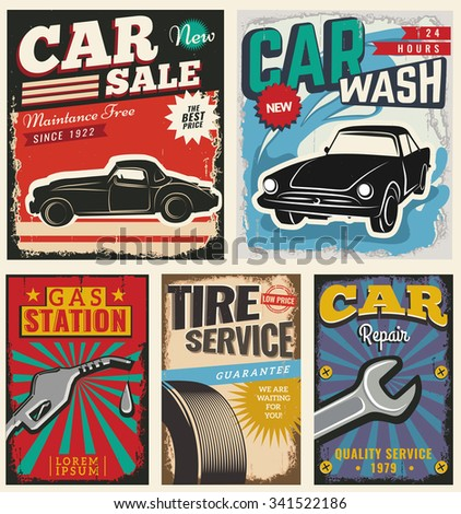 Vintage retro stile. Set of vector cars flyer template. Classic garage, car wash, sale, repair and auto service. You can use it for grange background, banner, label. - stock vector