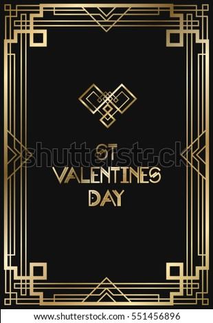 Great gatsby stock images royalty free images vectors vintage retro style invitation for valentines day in art deco art deco border and frame stopboris Image collections