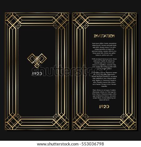 Vintage Retro Style Invitation Art Deco Stock Vector 553036798 ...