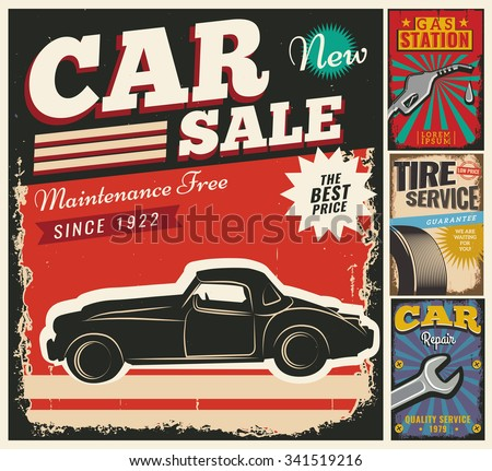 Vintage retro style. Set of vector cars flyer template. Garage, tire service, sale, wash, repair and auto service. You ?an use it for advertising, signboard, signage, banner or label. - stock vector