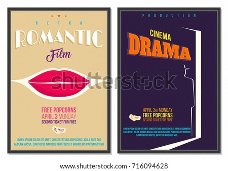 vintage retro style vector movie poster template with lip illustration and dark theme background ideal for