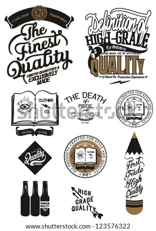 Vintage Retro Styled Premium Quality and Satisfaction Guarantee Label collection with icon sign - stock vector