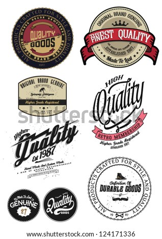 Vintage  Retro Styled Premium Quality And Satisfaction Guarantee Label Set. - stock vector