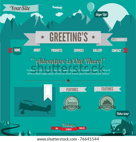 Vintage-Retro styled website template, 100% vector elements - stock vector