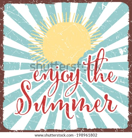 Vintage retro summer poster - stock vector
