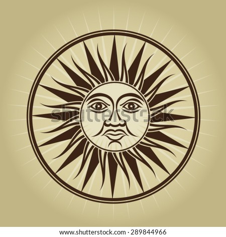 Vintage Retro Sun Illustration