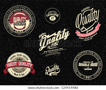 Vintage Retro vector set of premium quality and guarantee labels. - stock vector