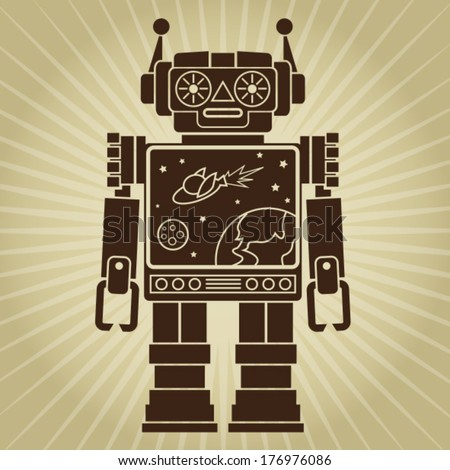 Vintage Retro Video Robot Character - stock vector