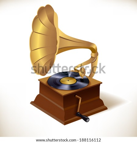 Vintage retro vinyl plates gramophone print template vector illustration