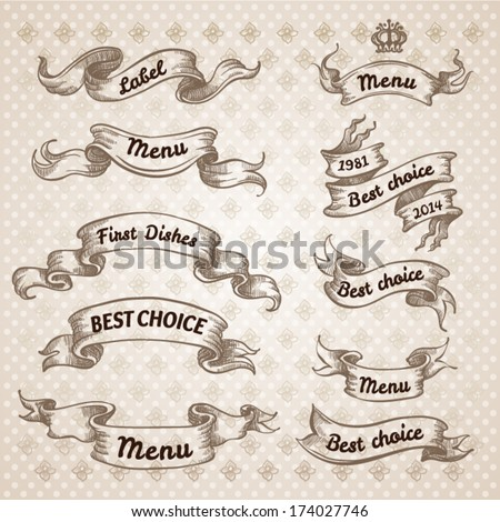 Vintage ribbon banners, hand drawn set. Menu background - stock vector