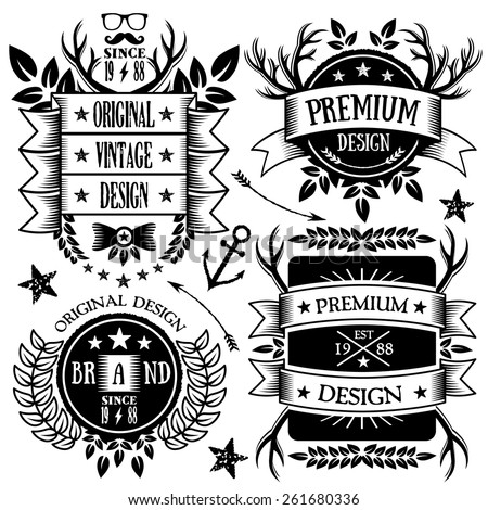 Vintage ribbons, badges and labels set. Creative premium design elements, logo design templates, retro badges signs.Vintage style.High quality vector illustration. Isolated on white background. Set 5. - stock vector