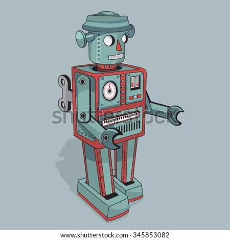 Vintage robot illustration, typography, t-shirt graphics, vectors - stock vector
