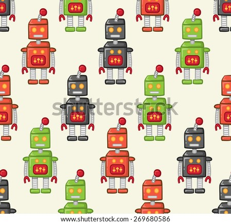 vintage robot pattern - stock vector