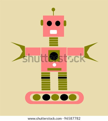vintage robot with claw hands - stock vector
