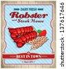 Vintage robster & steak house poster design - stock vector