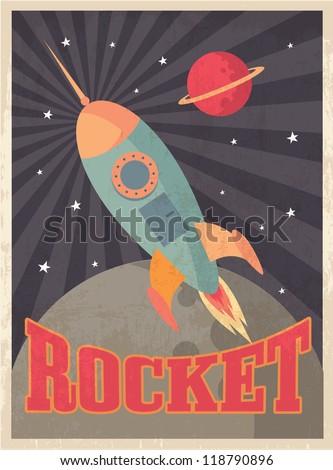 vintage rocket vector/illustration - stock vector