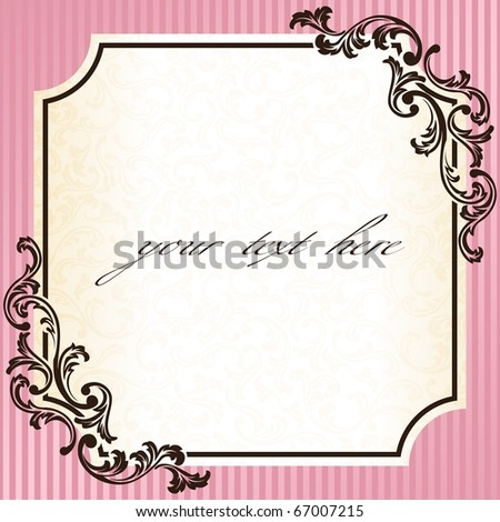 Vintage rococo frame in pink (EPS10); jpg version also available - stock vector