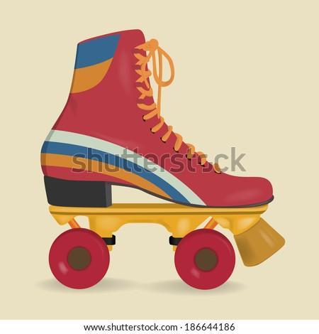 Vintage roller skates - stock vector